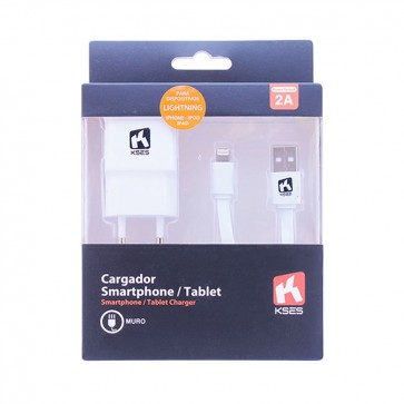 Cargador 2A - Muro + Cable Apple Lightning 1 mt - Kses