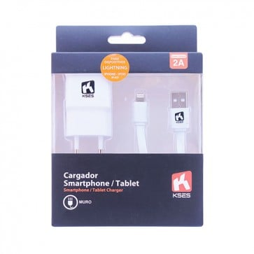 Cargador 2A - Muro + Cable Apple Lightning 1 mt - Kses