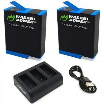 Kit de Cargador + 2 Baterías para Gopro Hero 9 Black Wasabi