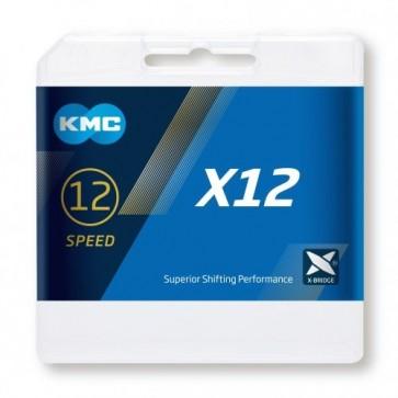 """Cadena KMC X12 1/2X11/128"""" 12V Plata"""