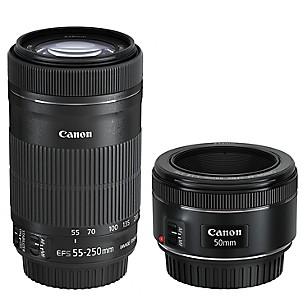 Pack de Lentes Canon EF 50 mm 1.8 STM + EF-S 55-250mm 4-5.6 IS STM