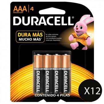 12 Packs de Pilas Duracell AAA de 4 Pilas