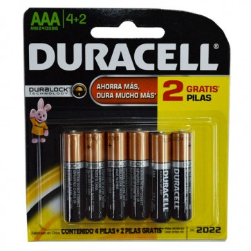 Pack de 4 pilas + 2 de regalo AAA - Duracell