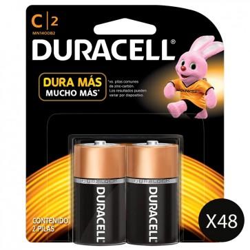 48 Pack de 2 pilas Duracell Mediana C