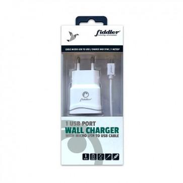 Cargador de Pared USB  Fiddler  Con Cable micro USB a USB