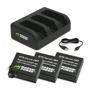 Kit Power PRO 3 Cargadores + 3 Baterias Hero 4 Wasabi 2
