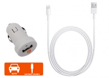 Cargador auto Iphone 5 Blanco