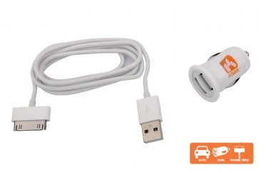 Cargador auto Iphone 4 Blanco Dual