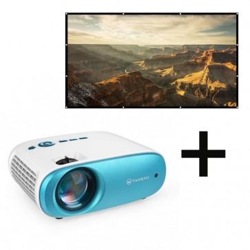 Kit Proyector Cinemango 100 Mini 4000 Lux HD 720p nativo Vankyo + Telon de proyector VANKYO 3 metros