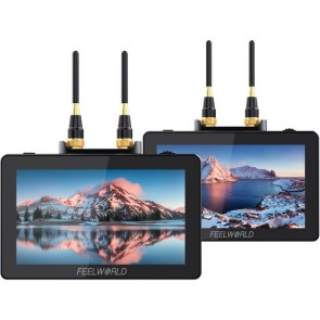 "Sistema de Transmisor y Receptor inalámbrico FeelWorld Two Monitores en Camara de 5.5 """