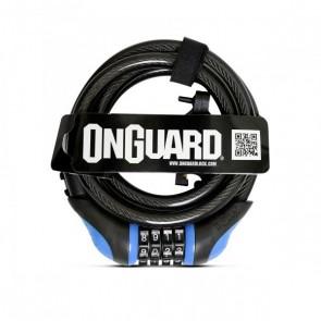 Candado Espiral OnGuard con clave 180cm x 12mm Azul