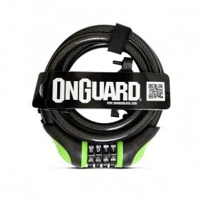 Candado Espiral OnGuard con clave 180cm x 12mm Verde