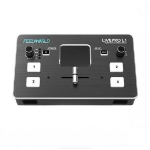 Conmutador de video multicámara FeelWorld LIVEPRO L1 con 4 entradas HDMI y transmisión USB