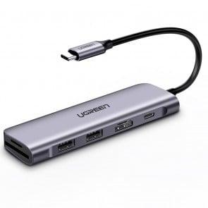 Hub USB C 6 en 1 con HDMI 4K + Conexión de Carga Ugreen
