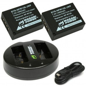 Set de Baterias y Cargador dual USB para Fujifilm NPW-126 - Wasabi power