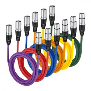 Set de 6 Cables de colores XLR 2m Macho-Hembra Neewer