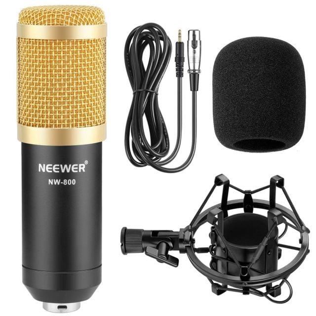 Microfono de Condensador + Soporte + Cable + Espuma contra viento Neewer
